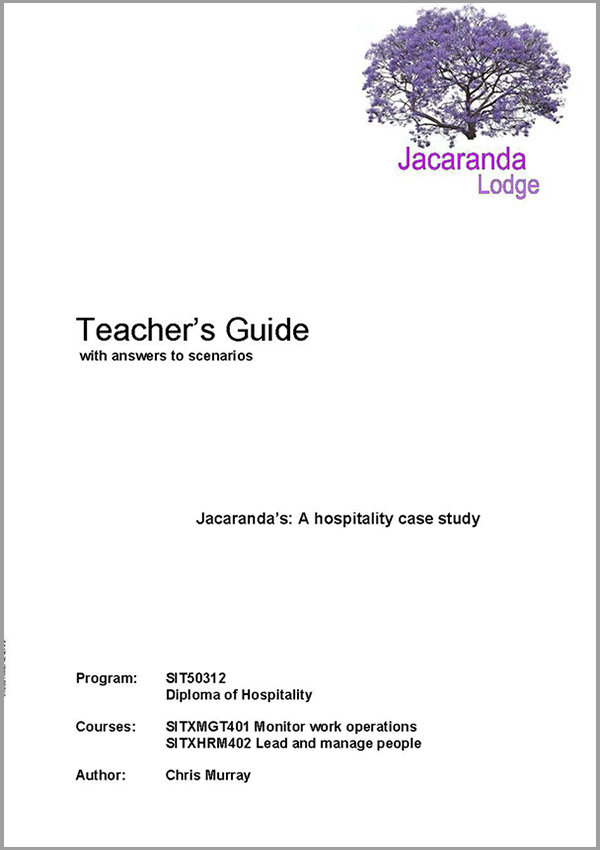 Teacher's Guide: SIT50312 Diploma in Hospitality