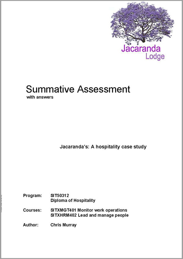 Summative Assessment: SIT50312 Diploma in Hospitality